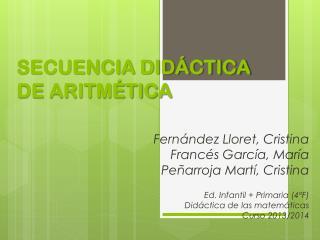 SECUENCIA DIDÁCTICA DE ARITMÉTICA