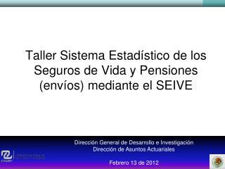 Taller Sistema Estadístico de los Seguros de Vida y Pensiones (envíos) mediante el SEIVE