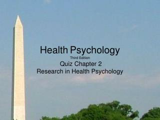 Health Psychology Third Edition Quiz Chapter 2  Research in Health Psychology