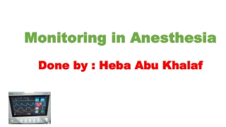 Monitoring in Anesthesia