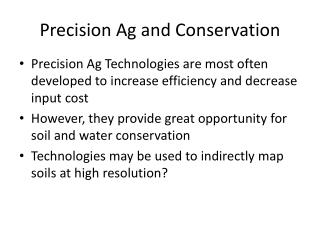 Precision Ag and Conservation