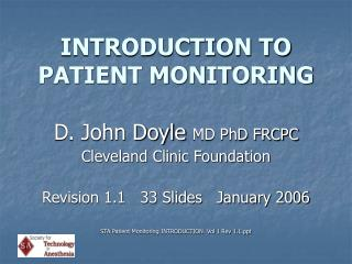 INTRODUCTION TO PATIENT MONITORING
