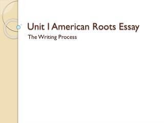 Unit I American Roots Essay