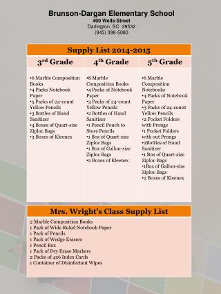 Brunson-Dargan Elementary School 400 Wells Street Darlington, SC  29532 (843) 398-5080