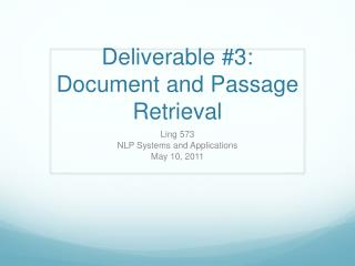 Deliverable #3: Document and Passage Retrieval