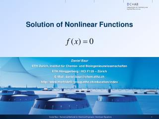 Solution of Nonlinear Functions