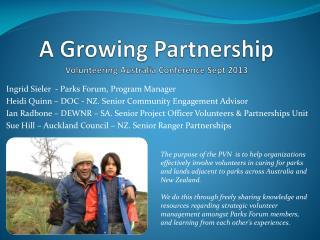 A Growing Partnership Volunteering Australia Conference Sept 2013