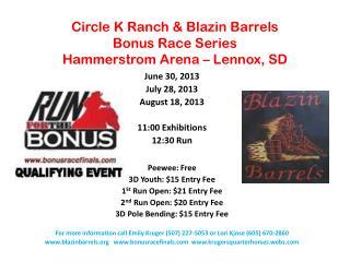 Circle K Ranch &  Blazin  Barrels Bonus Race Series Hammerstrom  Arena – Lennox, SD