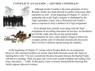 Conflict Analysis  - Archie Costello