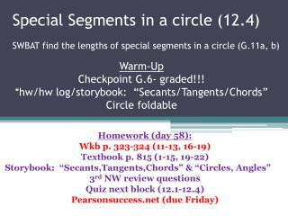 Special Segments in a circle (12.4)