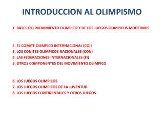 INTRODUCCION AL OLIMPISMO