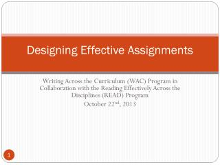 Designing Effective Assignments