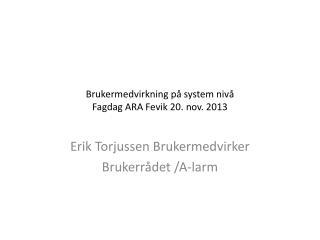 Brukermedvirkning på system nivå  Fagdag ARA Fevik 20. nov.  2013