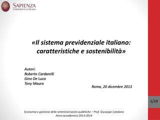 Economia e gestione delle amministrazioni pubbliche – Prof. Giuseppe Catalano