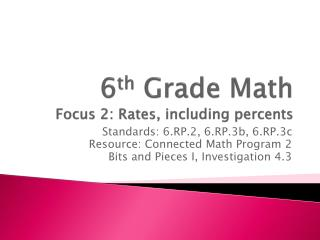 6 th  Grade Math Focus 2: Rates, including percents