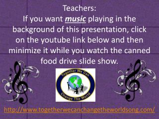 http://www.togetherwecanchangetheworldsong.com /