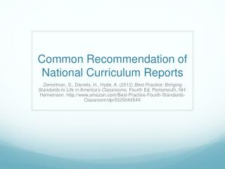 Common Recommendation of National Curriculum Reports