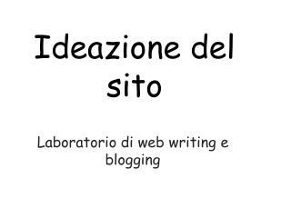 Ideazione del sito