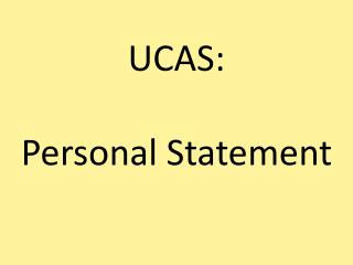 UCAS: Personal Statement