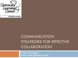 Communication strategies for Effective Collaboration
