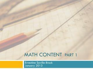 Math Content   Part 1