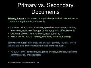 Primary vs. Secondary Documents