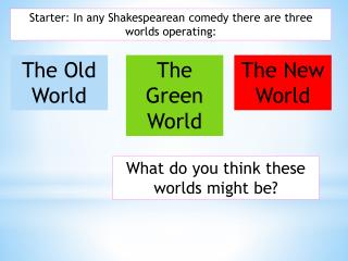 Starter: In any Shakespearean comedy there are three worlds operating: