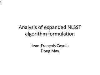 Analysis of expanded NLSST algorithm formulation