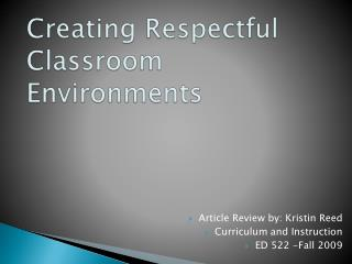 Creating Respectful Classroom Environments