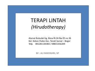 TERAPI LINTAH ( Hirudotherapy )