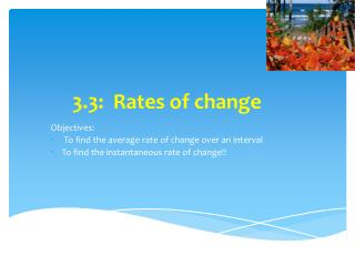 3.3:  Rates of change