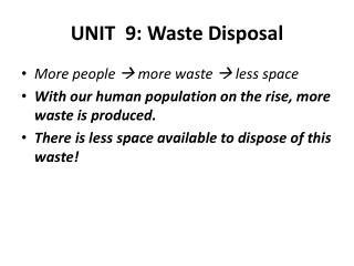 UNIT  9: Waste Disposal