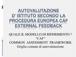 AUTOVALUTAZIONE  D� ISTITUTO SECONDO LA PROCEDURA EUROPEA CAF EXTERNAL FEEDBACK