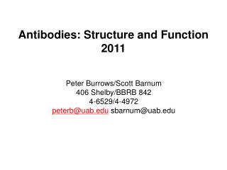 Antibodies: Structure and Function 2011