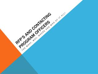 RFP's and Contacting Program Officers