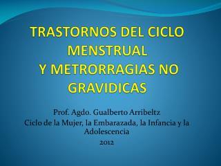 TRASTORNOS DEL CICLO MENSTRUAL  Y METRORRAGIAS NO GRAVIDICAS