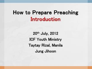 How to Prepare Preaching Introduction