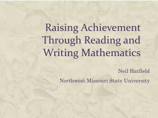 Raising Achievement Through Reading and Writing Mathematics