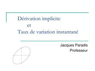 Dérivation implicite et Taux de variation instantané