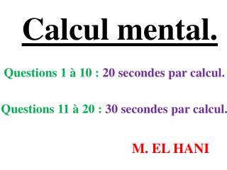 Calcul mental.