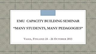 "EMU  CAPACITY BUILDING  SEMINAR "" MANY STUDENTS, MANY PEDAGOGIES"""