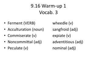 9.16 Warm-up 1 Vocab. 3