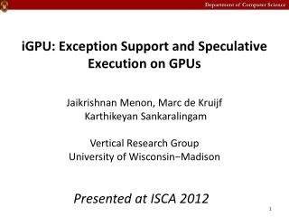 iGPU : Exception Support and Speculative Execution on  GPUs