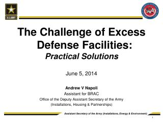 The Challenge of Excess Defense Facilities: Practical Solutions June 5, 2014 Andrew V Napoli
