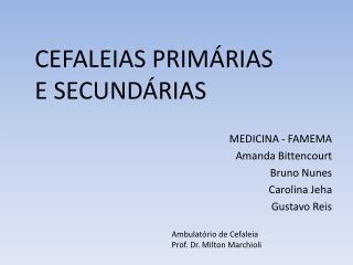 CEFALEIAS  PRIMÁRIAS            E SECUNDÁRIAS MEDICINA - FAMEMA Amanda Bittencourt Bruno Nunes