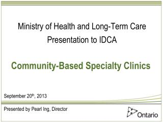 Community-Based Specialty Clinics