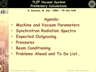 TLEP Vacuum System  Preliminary Calculations