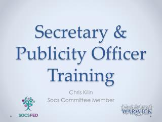 Secretary & Publicity Officer Training