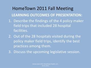 HomeTown 2011 Fall Meeting