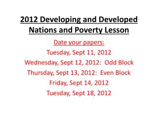 2012 Developing and Developed Nations and Poverty Lesson